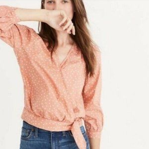 NWT Madewell coral wrap top star scatter sz XXL